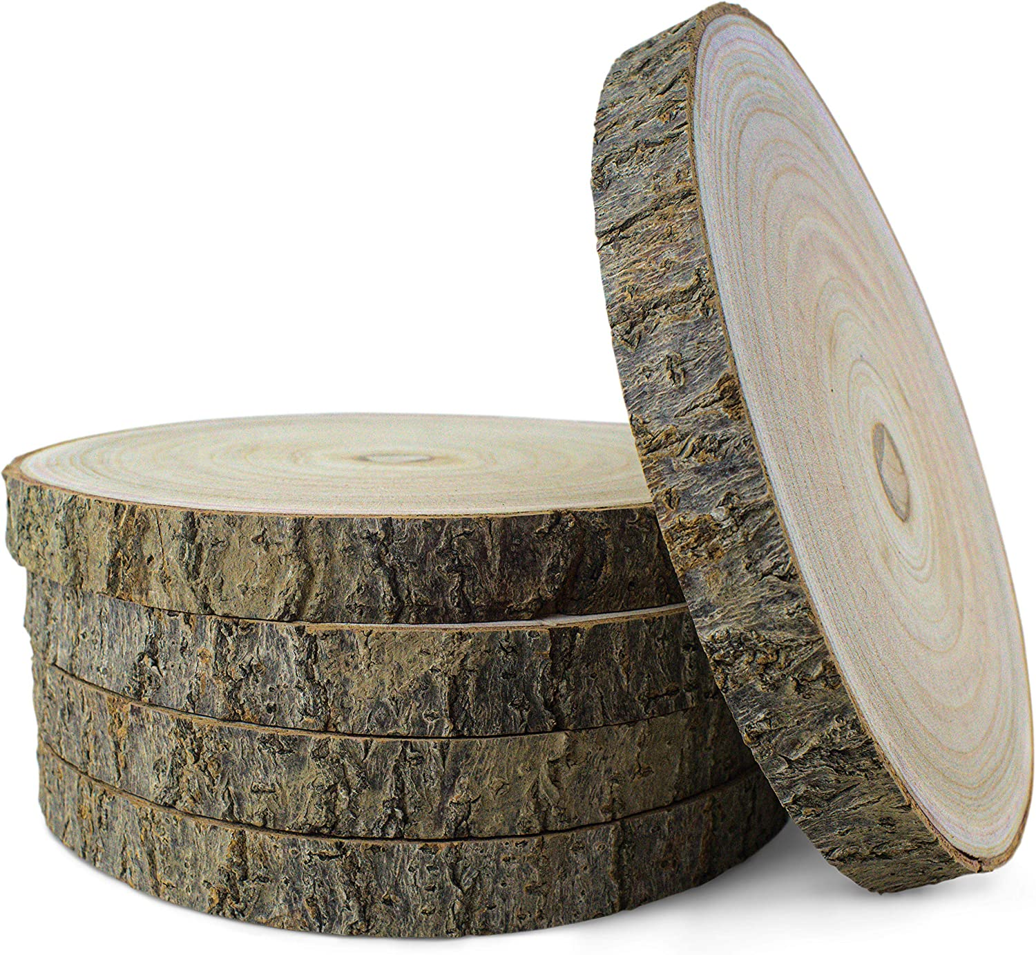 KARAVELLA Large Wood Slices for Centerpieces - 5 Pack Wood Centerpieces for Tables, 9 to 11 inches, Rustic Wedding Centerpiece, Natural Wood Slabs w/ & Minor Cracks & bark Loss