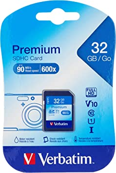 TALLA 32 GB. Verbatim 32GB SDHC - Tarjeta de Memoria SDHC de 32 GB (10 MB/s, Clase 10)