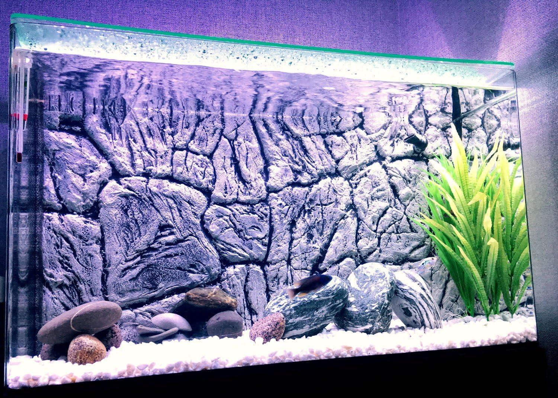 Not Foam Aqua Maniac 3D Aquarium Background Polyresin 1-2 cm Thick Unique Aqua Decor 77x36cm Thin Rock Grey