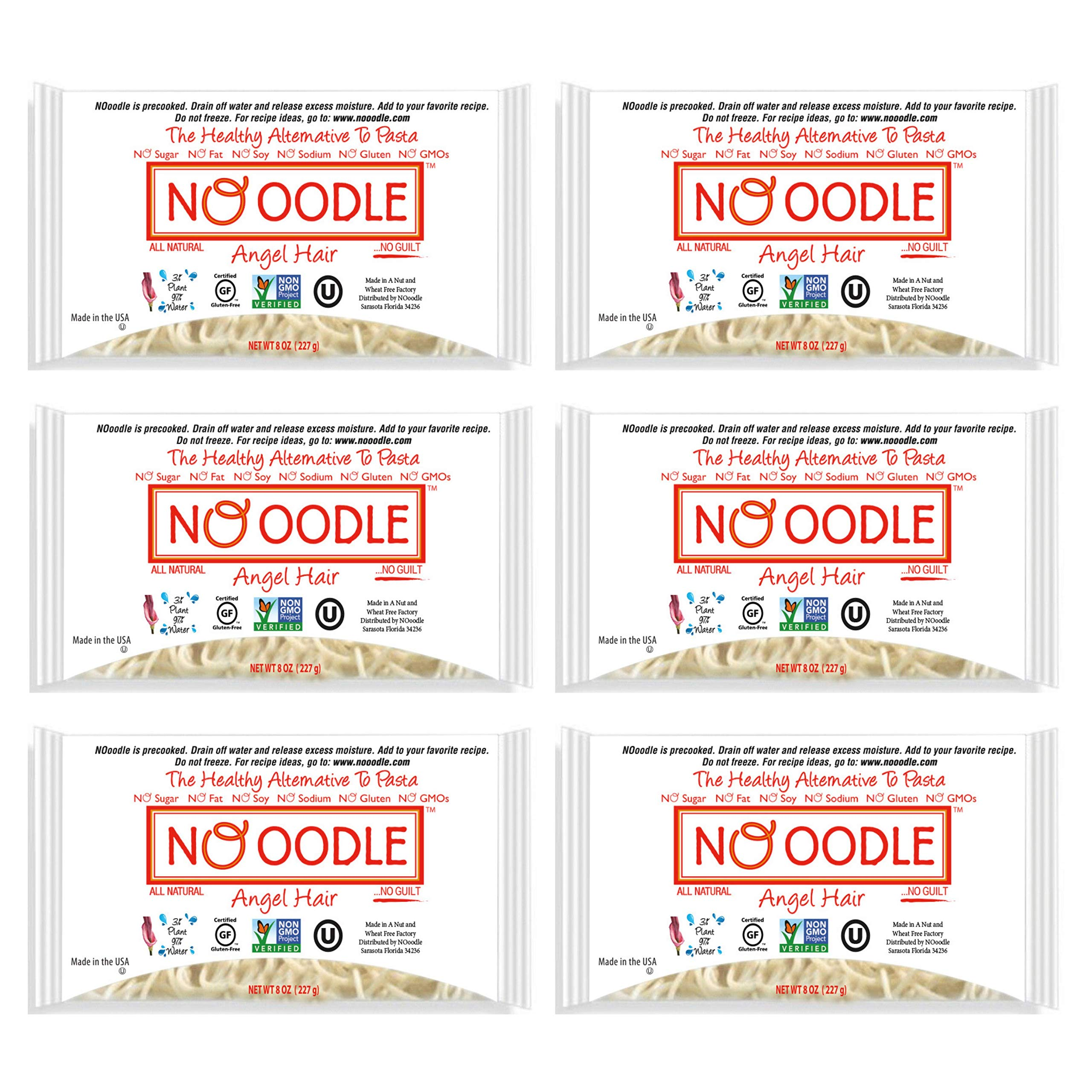 NOoodle No Carb Pasta, Noodle Alternative, Zero Calories, Gluten Free, Keto Friendly, Best Tasting Shirataki Noodles (Angel Hair, 6-pack) by NO OODLE