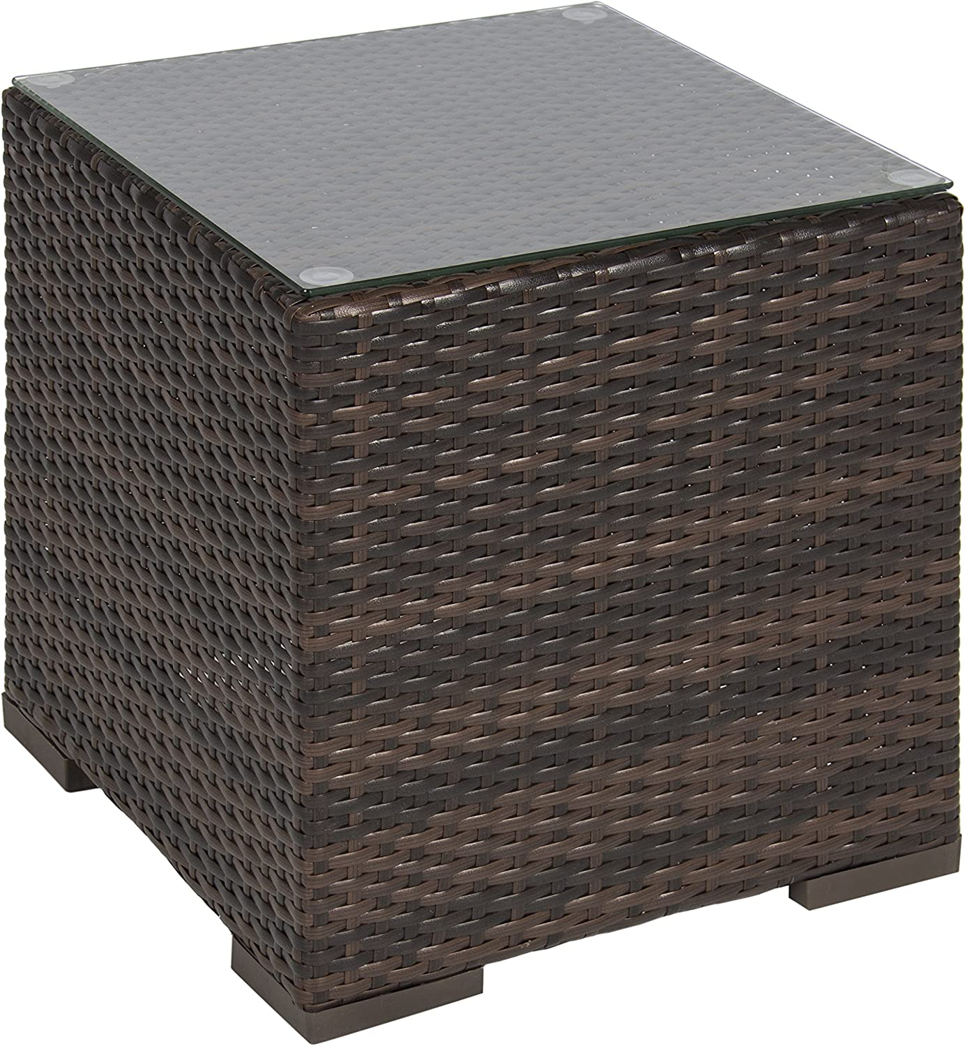 Best Choice Products Wicker Rattan Side Table Outdoor Patio