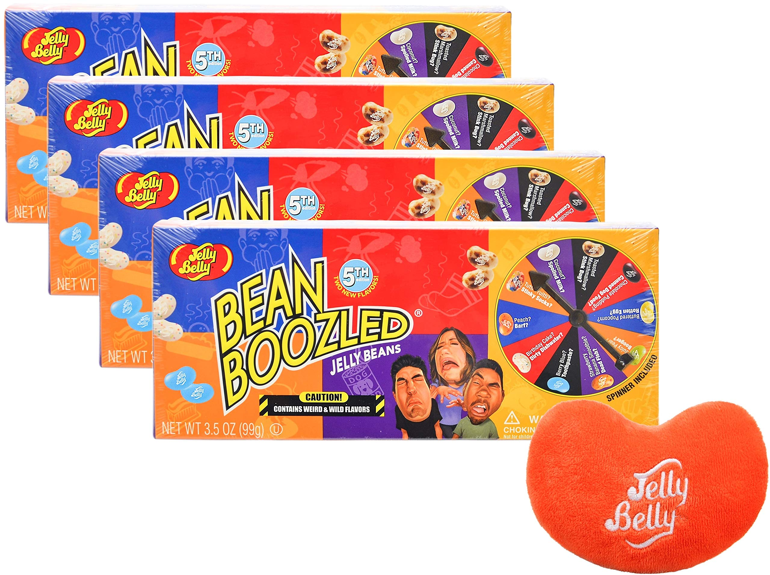 Jelly Belly Jelly Beans Bean Boozled 5th Edition Jelly Beans Spinner Game Box, Gluten Free 3.5 Ounce (Pack of 4) - with Jelly Belly Emoji Mini Plush Toy