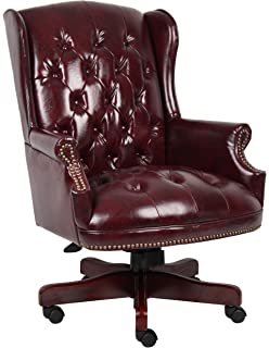 boss office products b800by wingback traditional chair in burgundy - Tufted Desk Chair