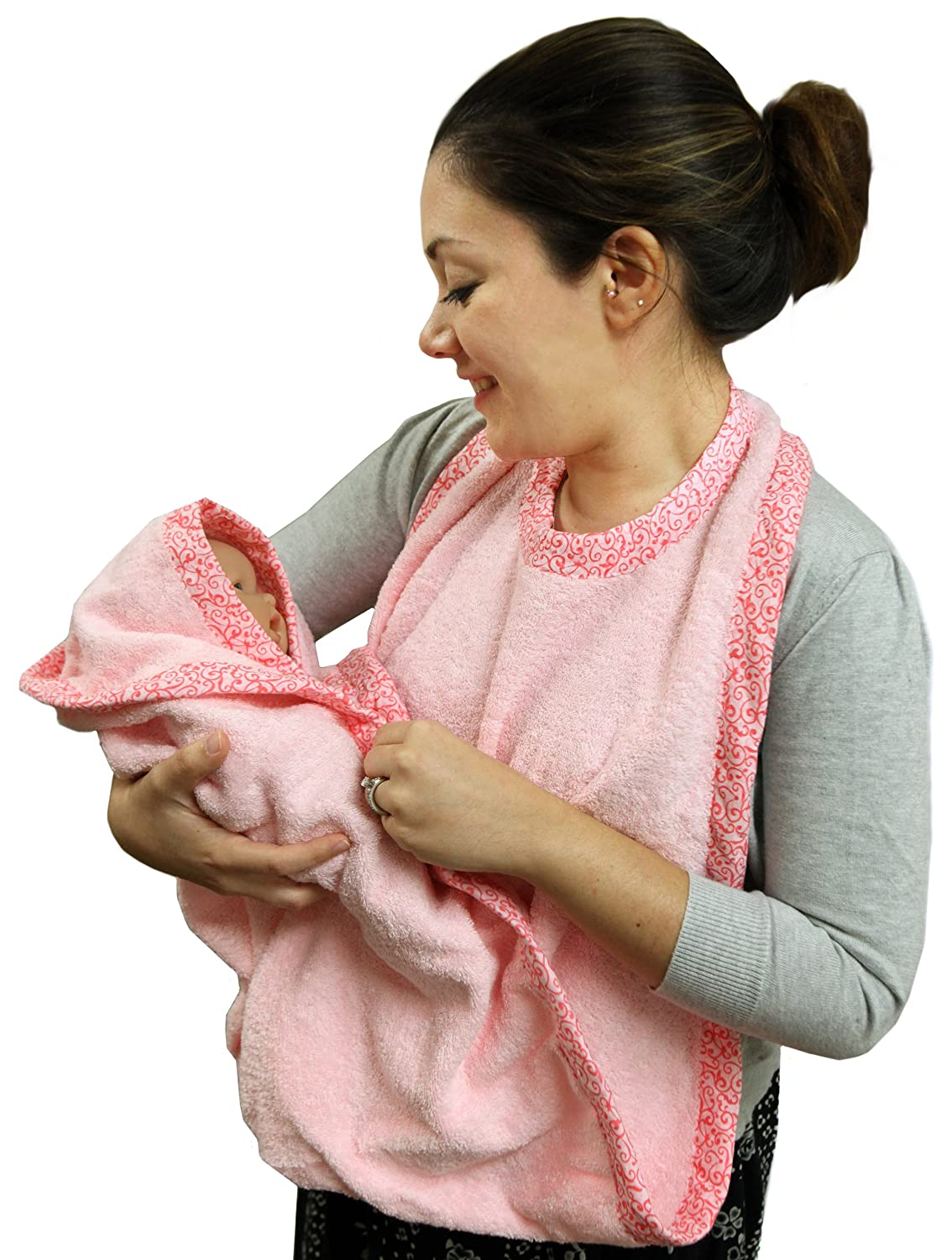 Pink Hooded Towel - Extra Large Hand Free Absorbent76.2X134.62 cm - by Frenchie Mini Couture