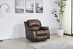 Betsy Furniture Bonded Leather Reclining Sofa Loveseat Glider Chair in Multiple Colors, 8018 (Brown, Glider Chair)