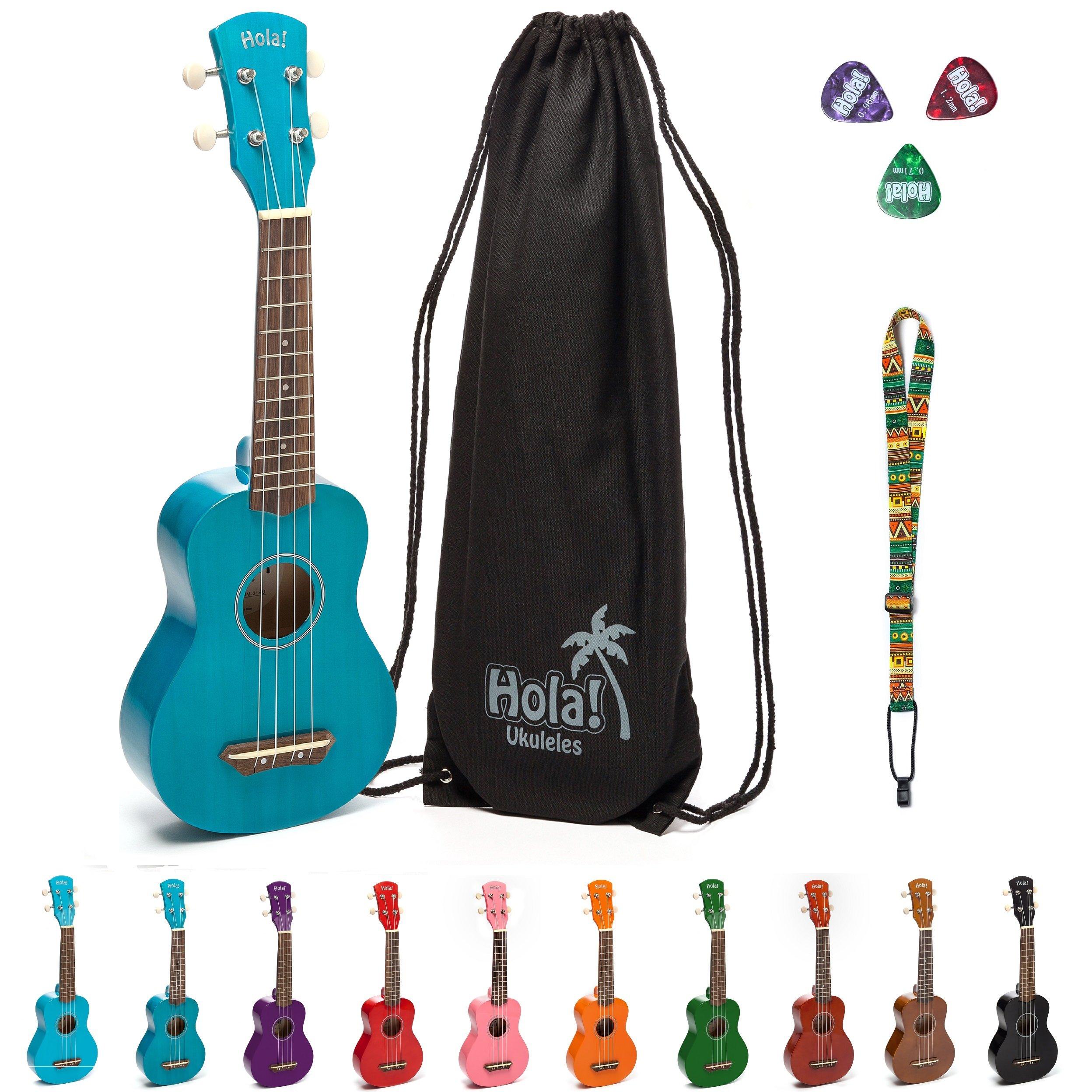 Hola! Music HM-21BU Soprano Ukulele Bundle with Canvas Tote Bag, Strap and Picks, Color Series - Blue