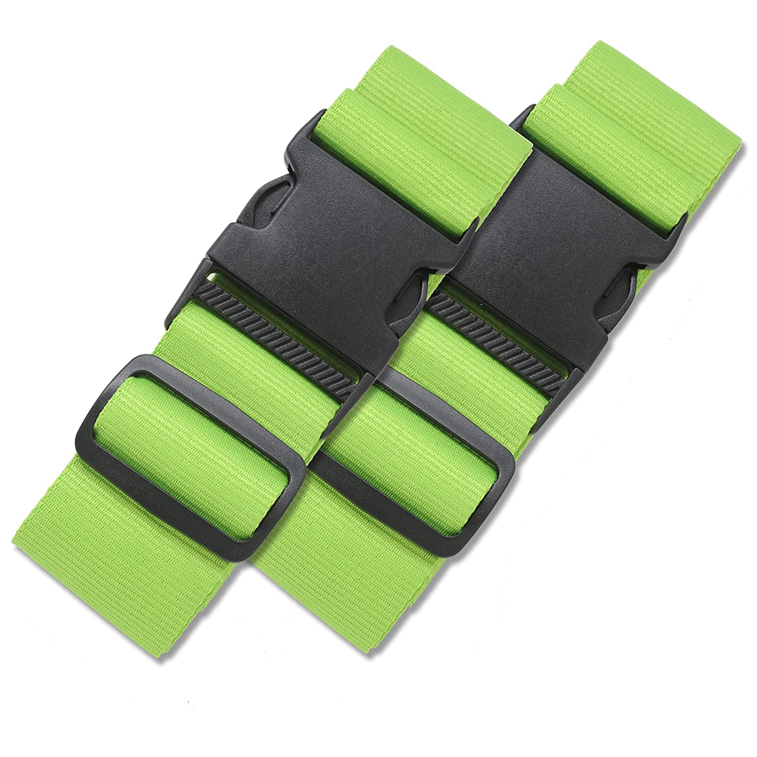 2 Pack Luggage Straps Set Suitcase Belts Bold Blue Luggage Tags ID TSA Approved Luggage Strap Carry On Adjustable Security Straps