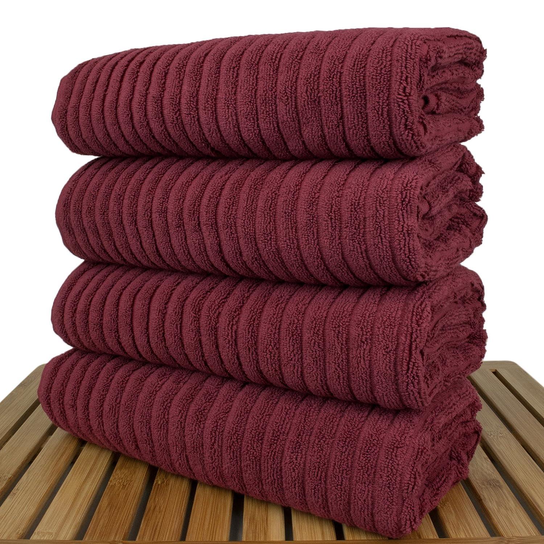 Luxury Hotel & Spa Towel Turkish Cotton Ribbed Cranberry, Bath Towel - Set of 4