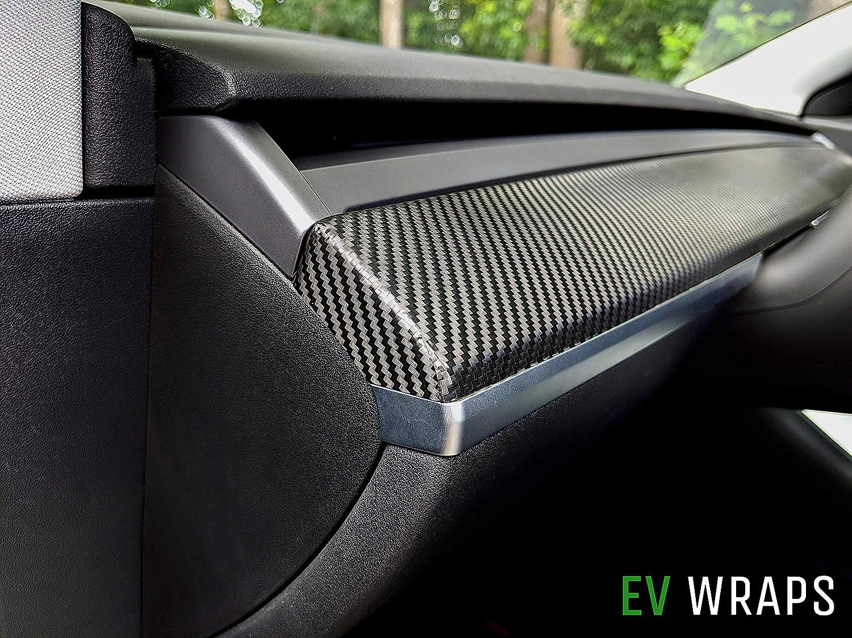 Carbon Fiber Black EV Wraps Tesla Model 3 Dash Wrap