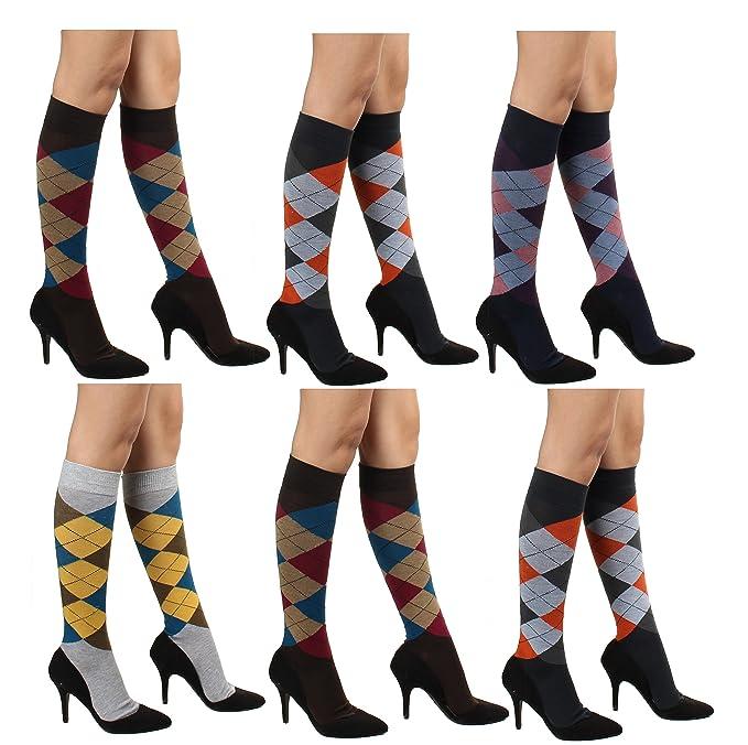 749f681a7df 6 Pairs Women s Cotton Fancy Design Multi Color Knee High Socks (Argyle)