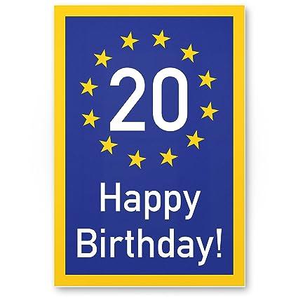 Dankedir Plaque En Plastique Happy Birthday 20 Ans