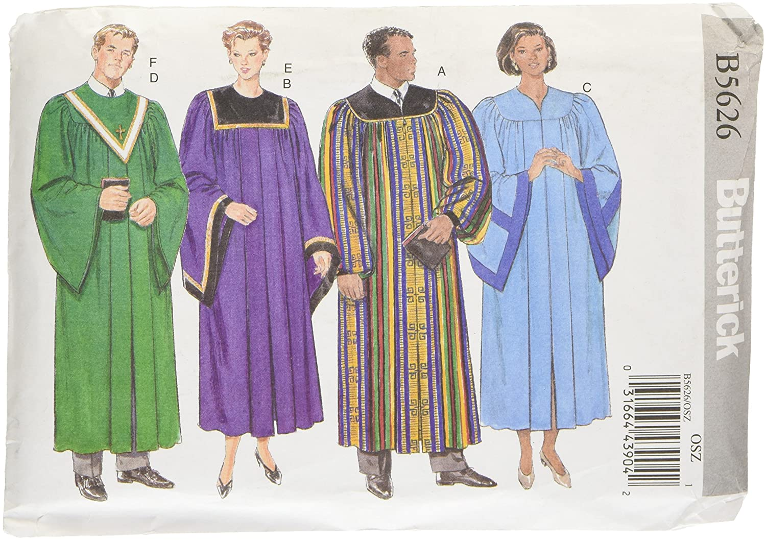 Amazon butterick patterns b5626 unisex robe and collar all sizes jeuxipadfo Gallery