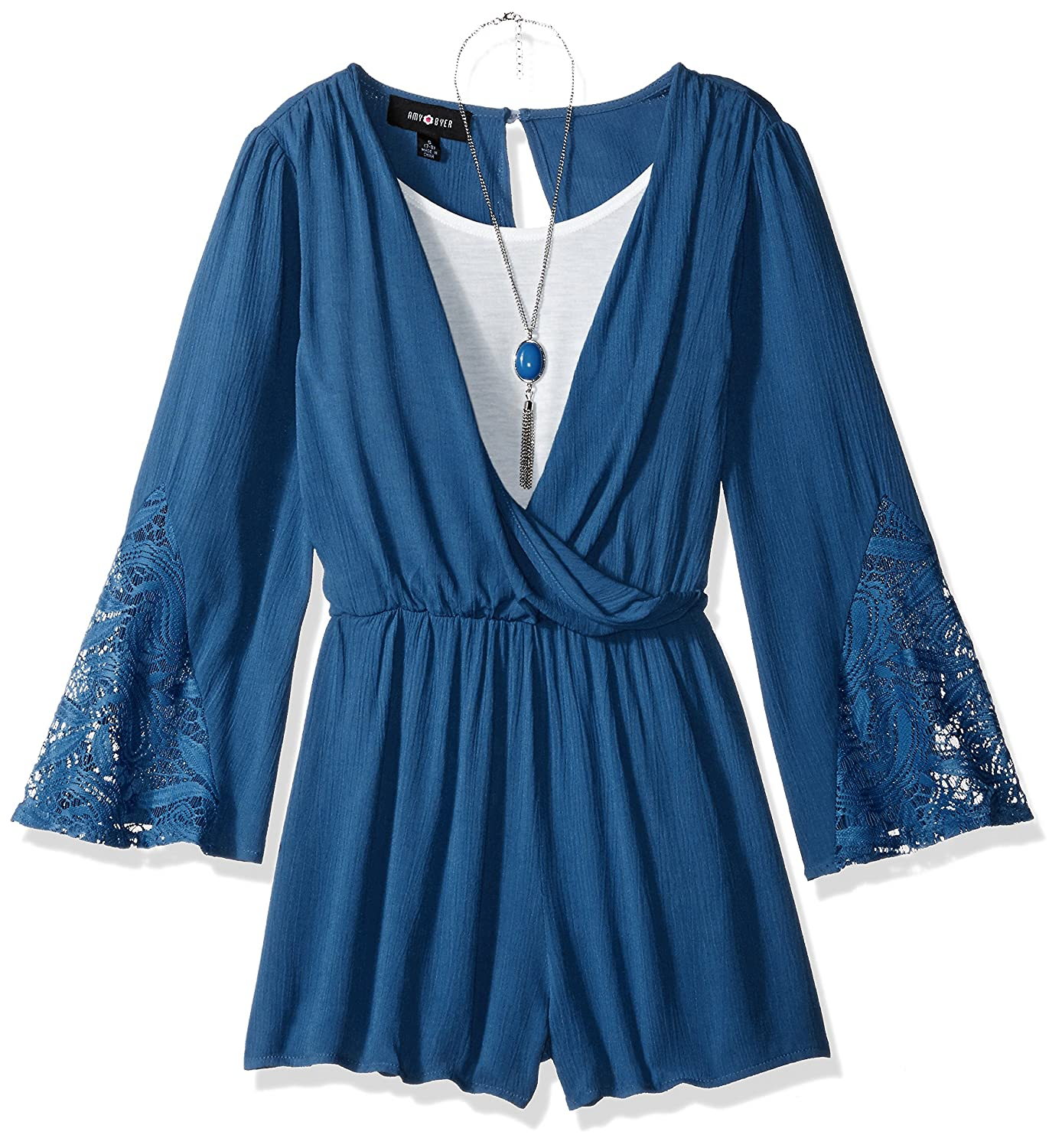 de3595b59caa Amy Byer Big Girls  Bell Sleeve Romper With Lace Trim