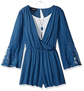 67423fff32bd Amazon.com  Amy Byer Girls  Big Bell Sleeve Romper with Lace Trim ...