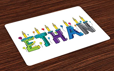 Ambesonne Ethan Place Mats Set Of 4 Celebration Themed Candles And Bitten Cake Popular Male