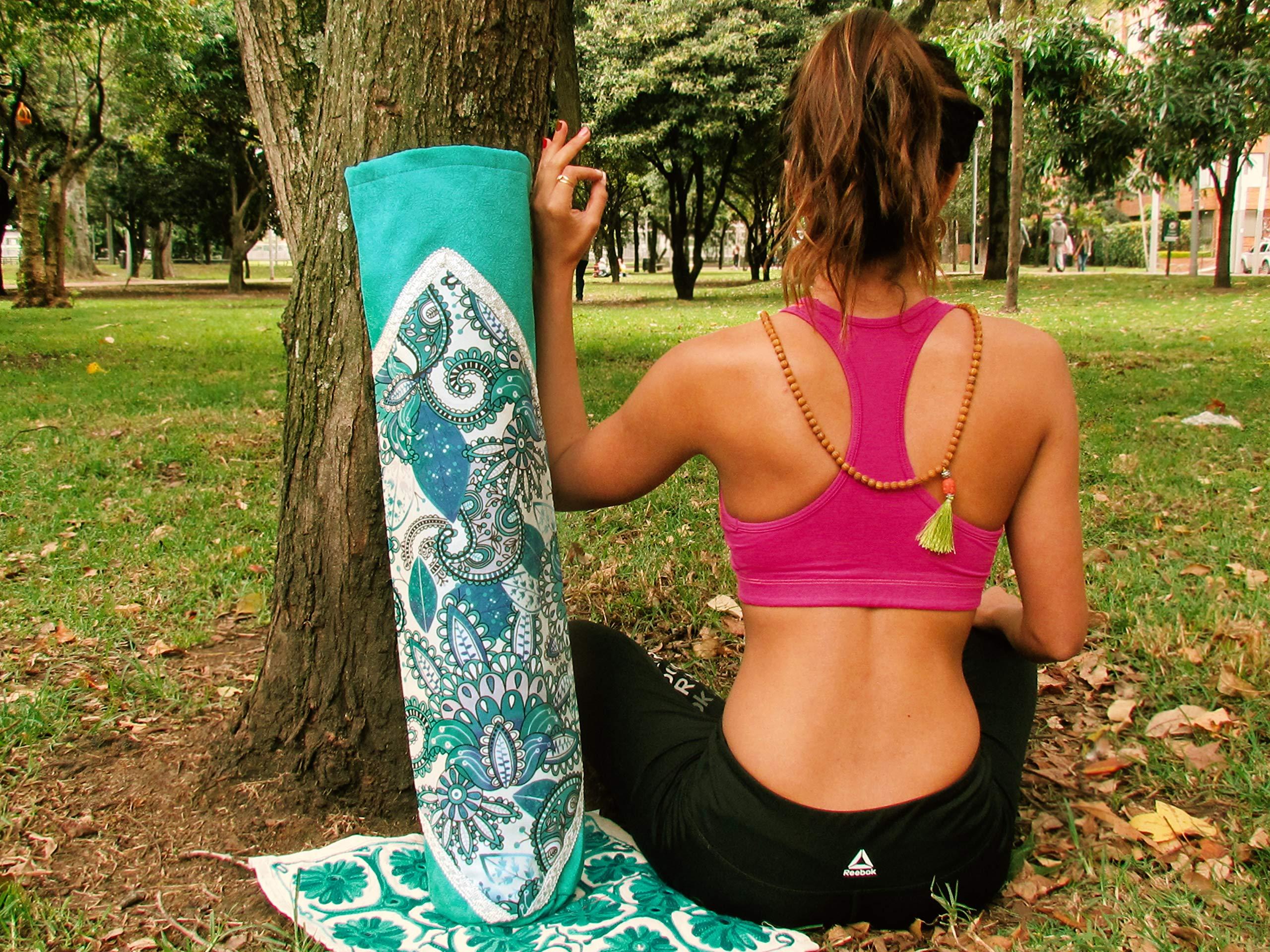 Handmade Yoga Mat Bag Tadasana, Yoga Mat Carrier (Aquamarine)