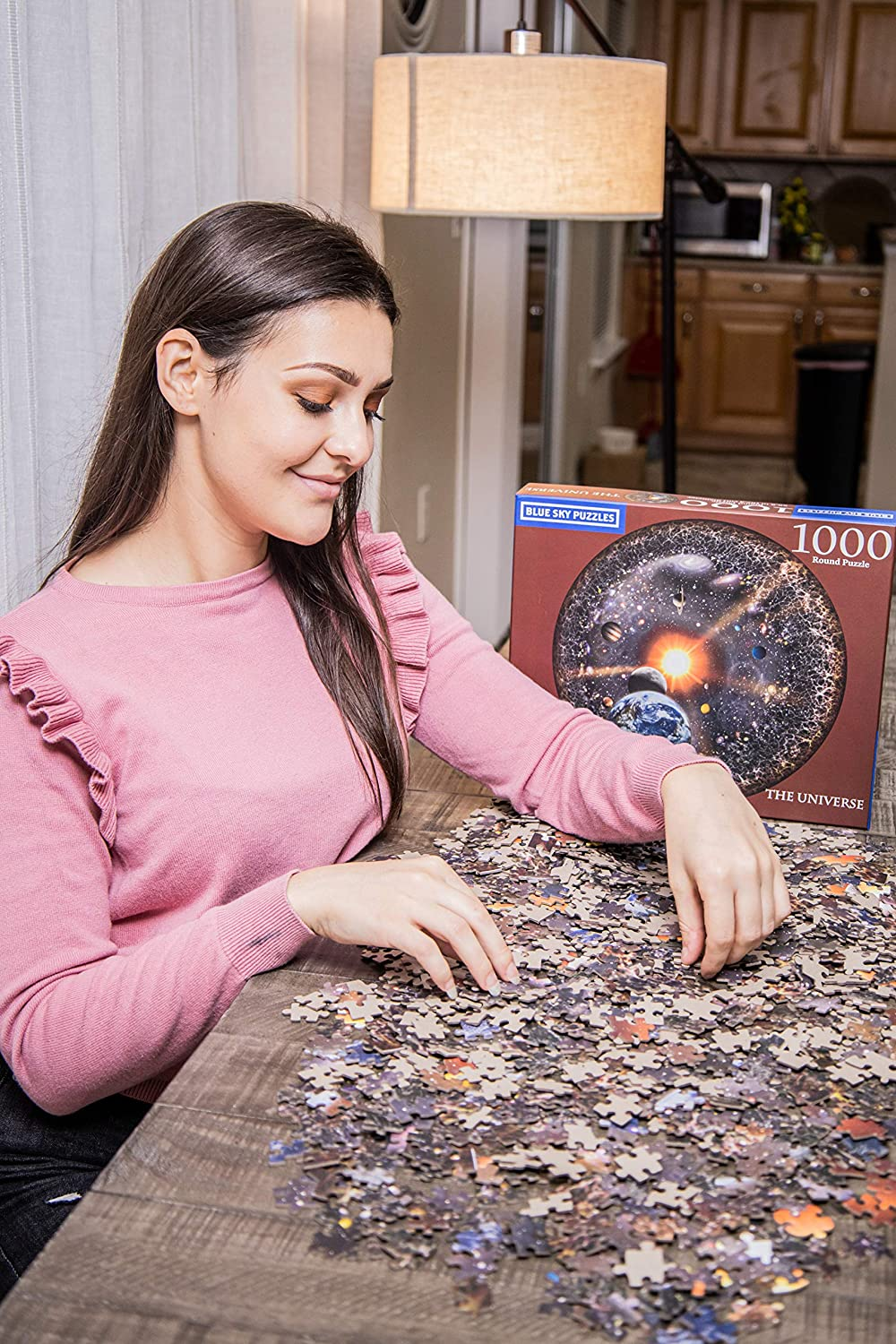 Celestial View of The Earth The Universe Blue Sky Puzzles 1000 Piece Round Space Jigsaw Puzzle for Adults Stars and Galaxy Moon Solar System Planets Large 26.6 Inch Circular Puzzle