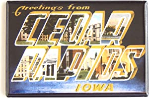 Greetings From Cedar Rapids Iowa Fridge Magnet (1.75 x 2.75 inches)