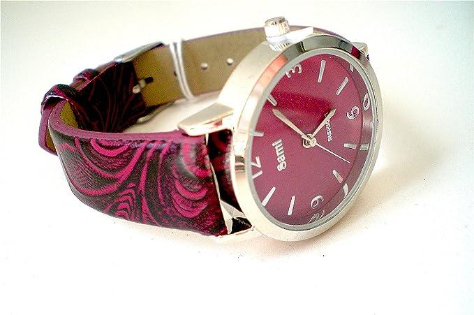 Sami RSM-81210-5 Reloj de Pulsera de Mujer Corona Cristal Correa Piel Rojo: Amazon.es: Relojes