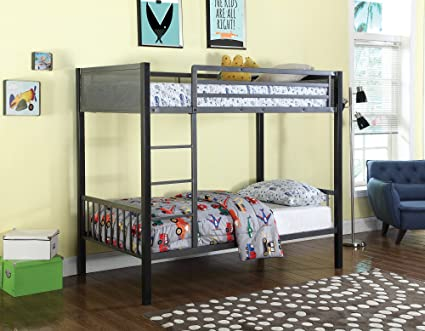 Amazon Com Benzara Bm182640 Metal Twin Bunk Bed With Built