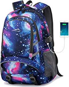 Galaxy Backpack For School Student CollegeBookbag Business Travel with USB Charging Port Fit Laptop Up to 15.6 Inch Chest Luggage Straps Night Light Reflective (Galaxy)