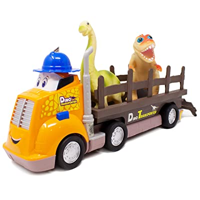 Boley 3 Piece Dino Transporter Set - Dinosaur Lovers Set for Kids, Children, Toddlers -Animated Truck with Realistic Motor Sounds, Detachable Truck Bed, and Adorable Dinosaurs to Transport!: Toys & Games