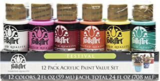 product image for FolkArt 12 Color Paint Set (2-Ounce), Festival, 2 oz, 2 Fl Oz