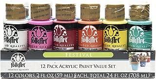 product image for FolkArt 12 Color Paint Set (2-Ounce), Festival, 2 oz, 2 Fl Oz