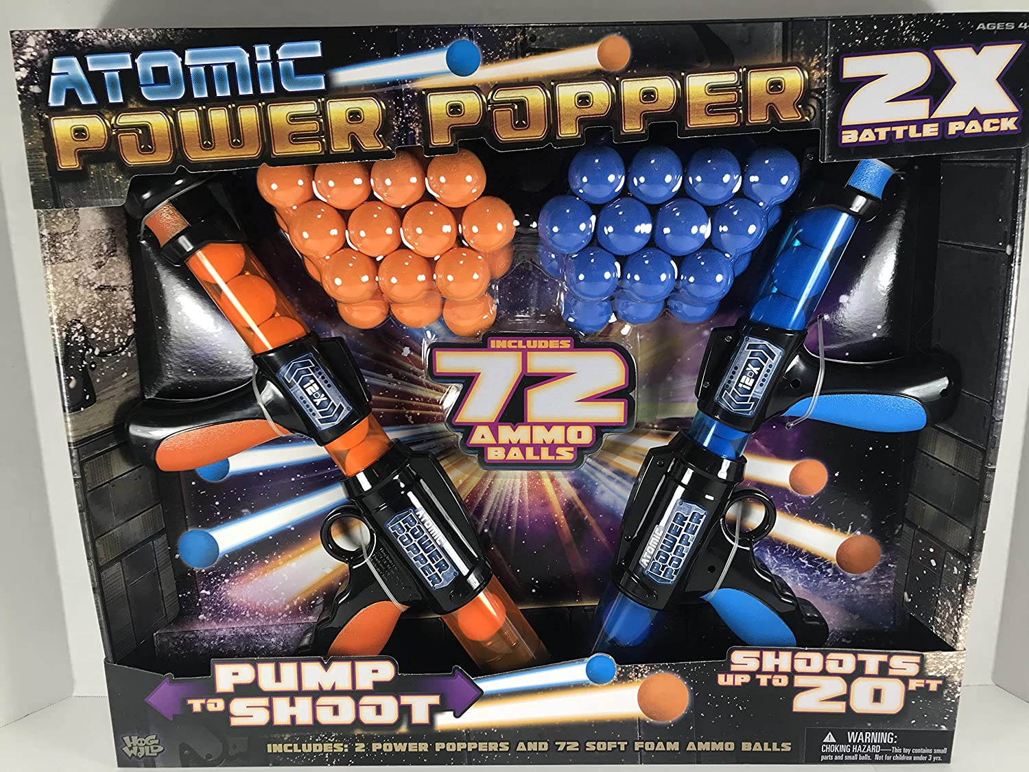 Hog Wild Atomic Power Popper x 2 Battle Pack. 2 Pistolas y 72 Bolas de Espuma Blanda. Alcance hasta 6m