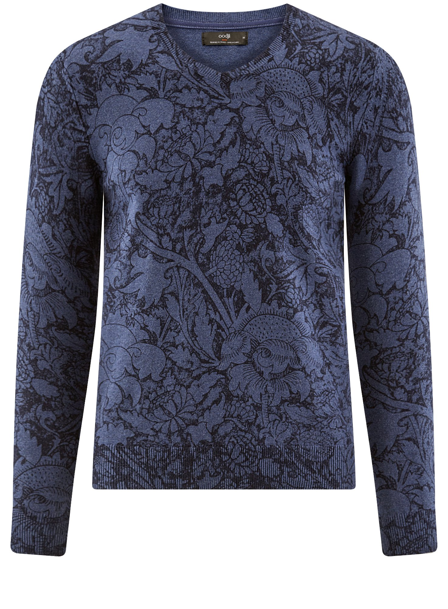 oodji Ultra Men's Printed Cotton Pullover, Blue, US 36-38/EU 46-48/S