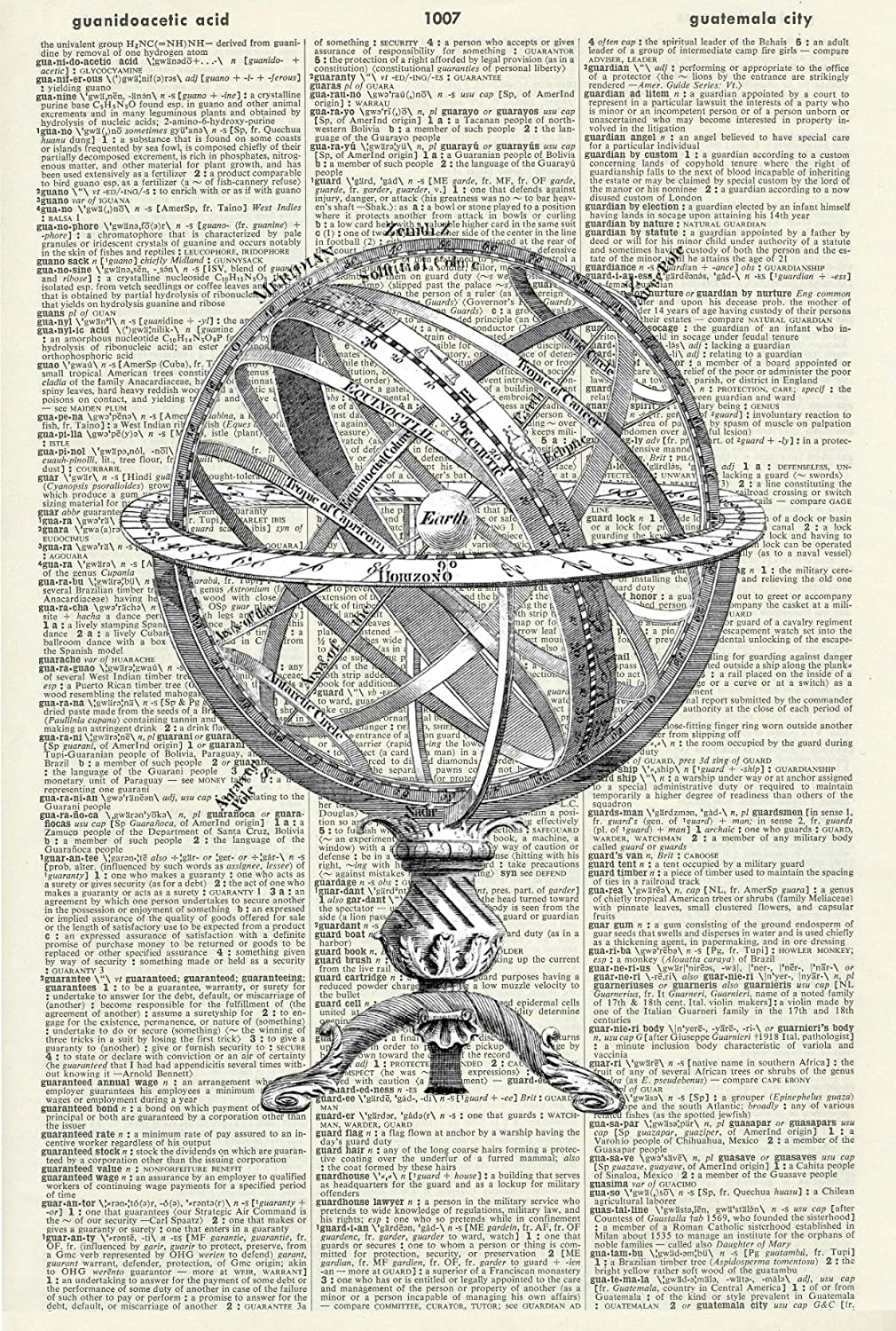 VINTAGE GLOBE - WORLD GLOBE - STEAMPUNK - SPACE - ART PRINT - Steampunk Art Print - Whimsical Art Print - Illustration -Dictionary Art Print - Book Print -Wall Hanging - Home Décor - Mixed Media Original - Upcycled Page 501DF Vintage Reflectionz