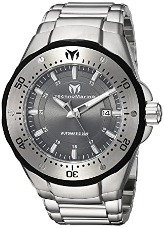 Technomarine Mens Manta Automatic Stainless Steel Casual Watch, Color:Silver-Toned