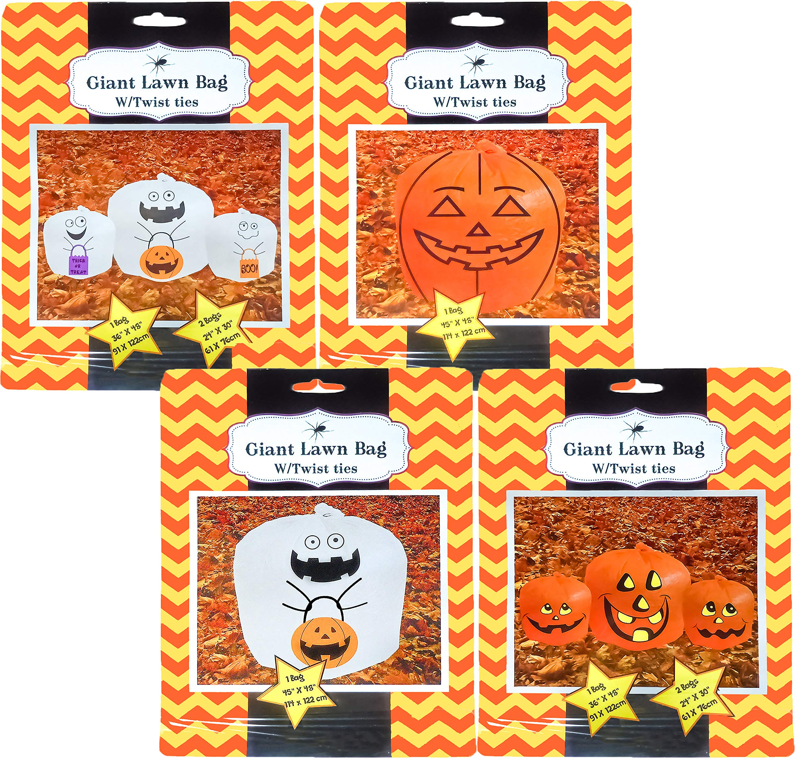 Set Of 4 Halloween Decorative Giant Lawn Bags With Twist Ties (Pumpkin & Ghost) by Black Duck Deals