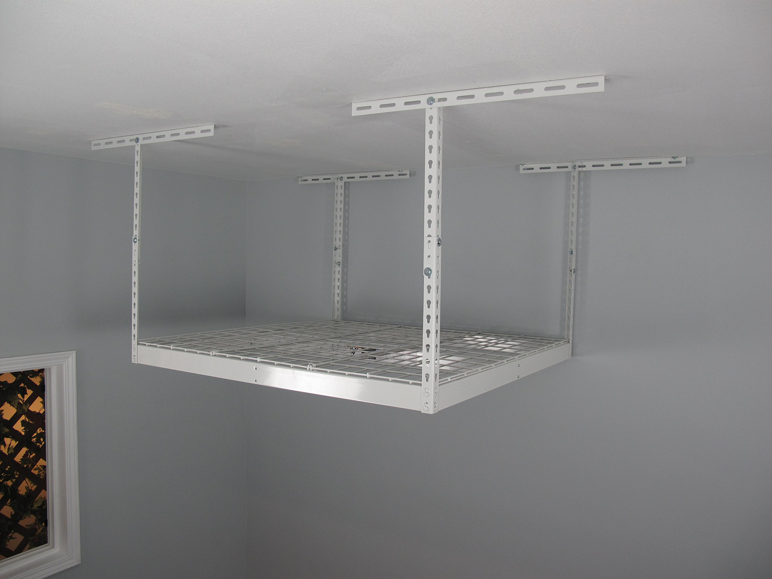 SafeRacks - Medium Duty 4x4 Overhead Storage Rack (24''-45'' Ceiling Drop) - White with 2 Free Hooks by SafeRacks