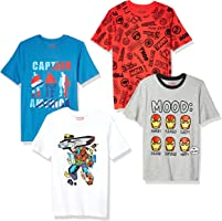 Spotted Zebra by Marvel - Boys' Toddler & Kids 4-Pack Short-Sleeve T-Shirts