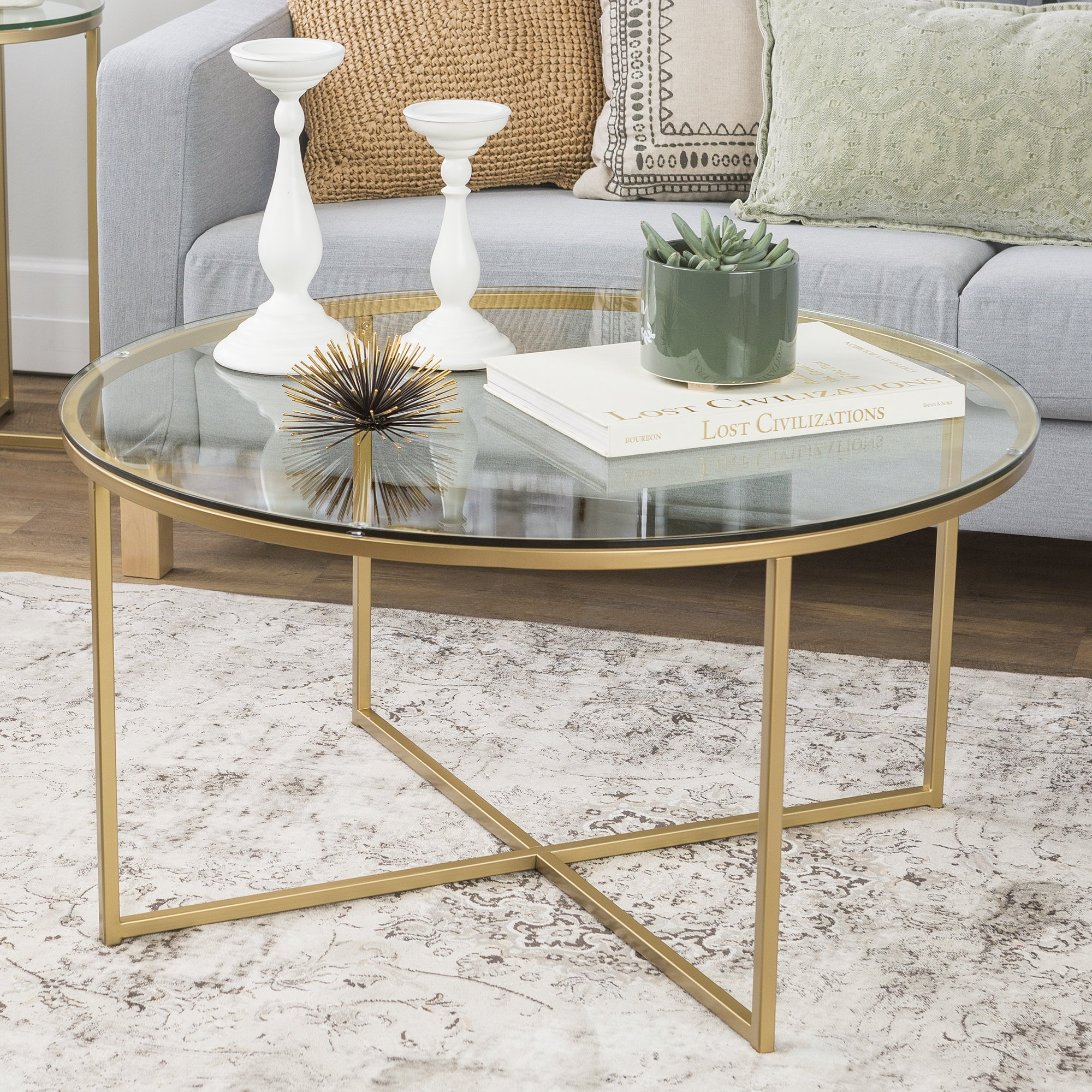 WE Furniture 36'' Coffee Table with X-Base - Glass/Gold