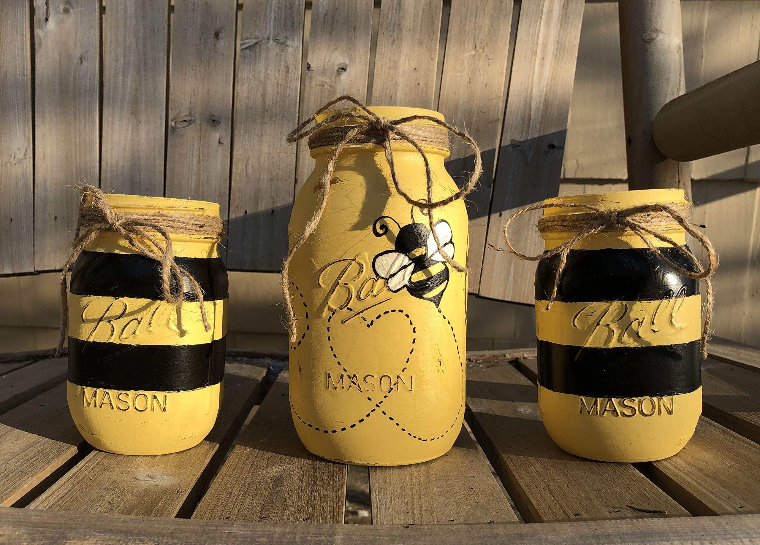 Bumble Bee Mason Jar Set/Bee Decor/Black & Yellow Bee Centerpiece/Bumble Bee Decor/Bee Baby Shower Gift/Bumble Bee Party by Redwood Home