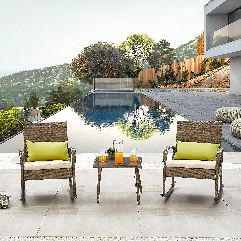 LOKATSE HOME 3 Pcs Outdoor Rattan Conversation Furniture Patio Bistro Wicker Set Modern Rocking Chair with Cushion & Coffee Table, Blue