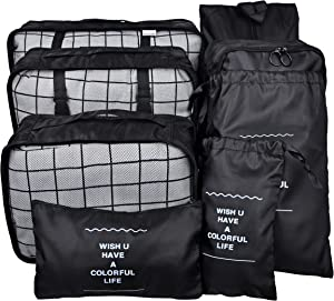 Vercord 8 Set Travel Packing Pods Luggage Organizers Cubes with Laundry Bags Accessories, Black