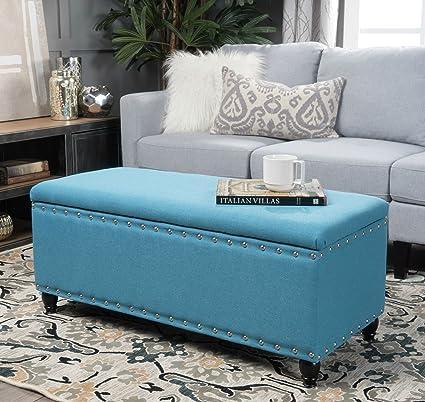 Amazoncom Storage Ottoman Bench Coffee Table Teal Nailhead Studded - Studded coffee table