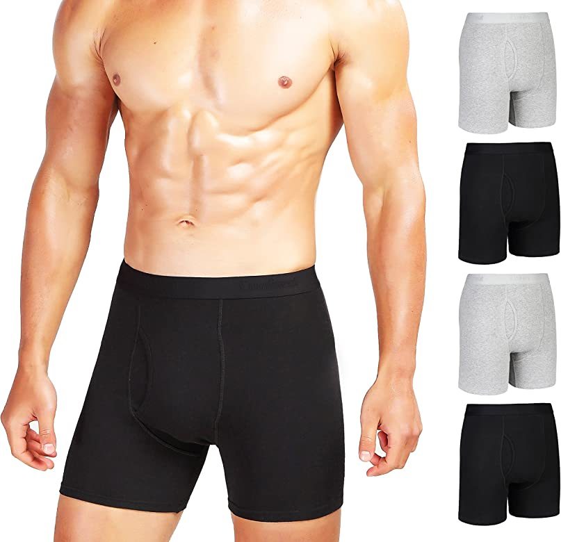 INNERSY Mens Trunks Low Rise Cotton Stretch Underwear with Pouch 4 Pack