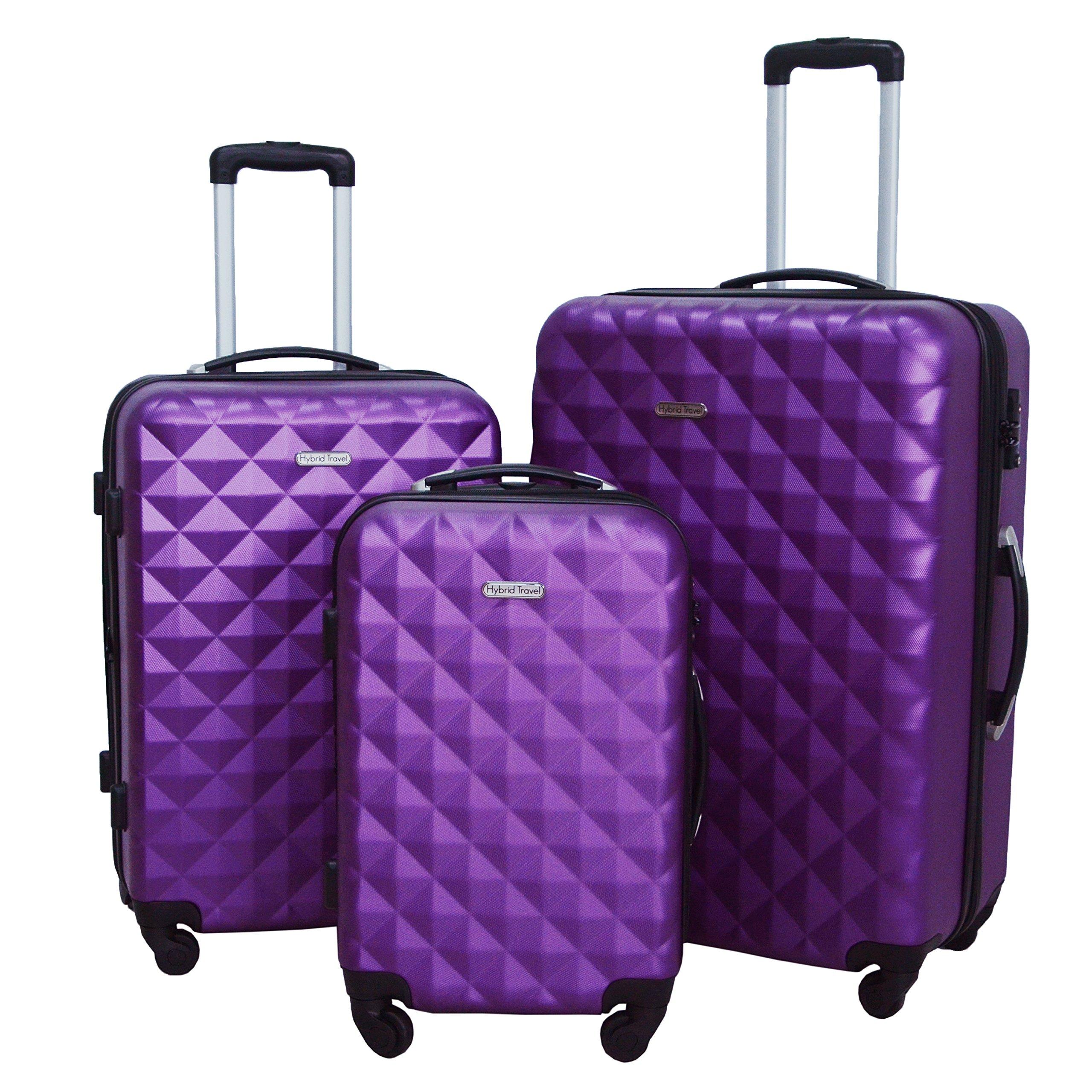 3 Piece Luggage Set Durable Lightweight Hard Case Spinner Suitecase LUG3 SS577A PURPLE PURPLE by HyBrid Travel