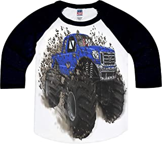 product image for Shirts That Go Little Boys' Big Blue Monster Truck Raglan T-Shirt
