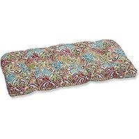 "Pillow Perfect Indoor/Outdoor Corinthian Dapple Wicker Loveseat Cushion 44"" x 19"" x 5"" Blue"
