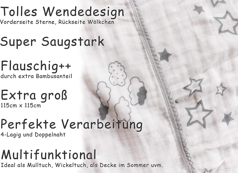 Coperta per beb/è coperta per bambini e bambine coperta per passeggino coperta per gattonare grigio con stelle e nuvole a 4 strati 115 x 115 cm coperta per neonati in mussola
