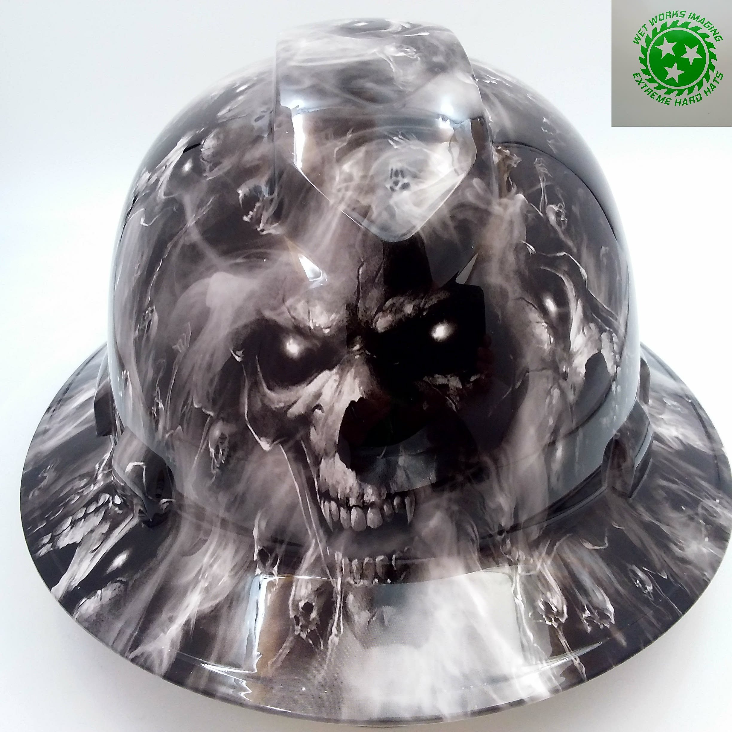 Wet Works Imaging Customized Pyramex Full Brim HADES DEMON DEVIL SKULLS HARD Hat With Ratcheting Suspension