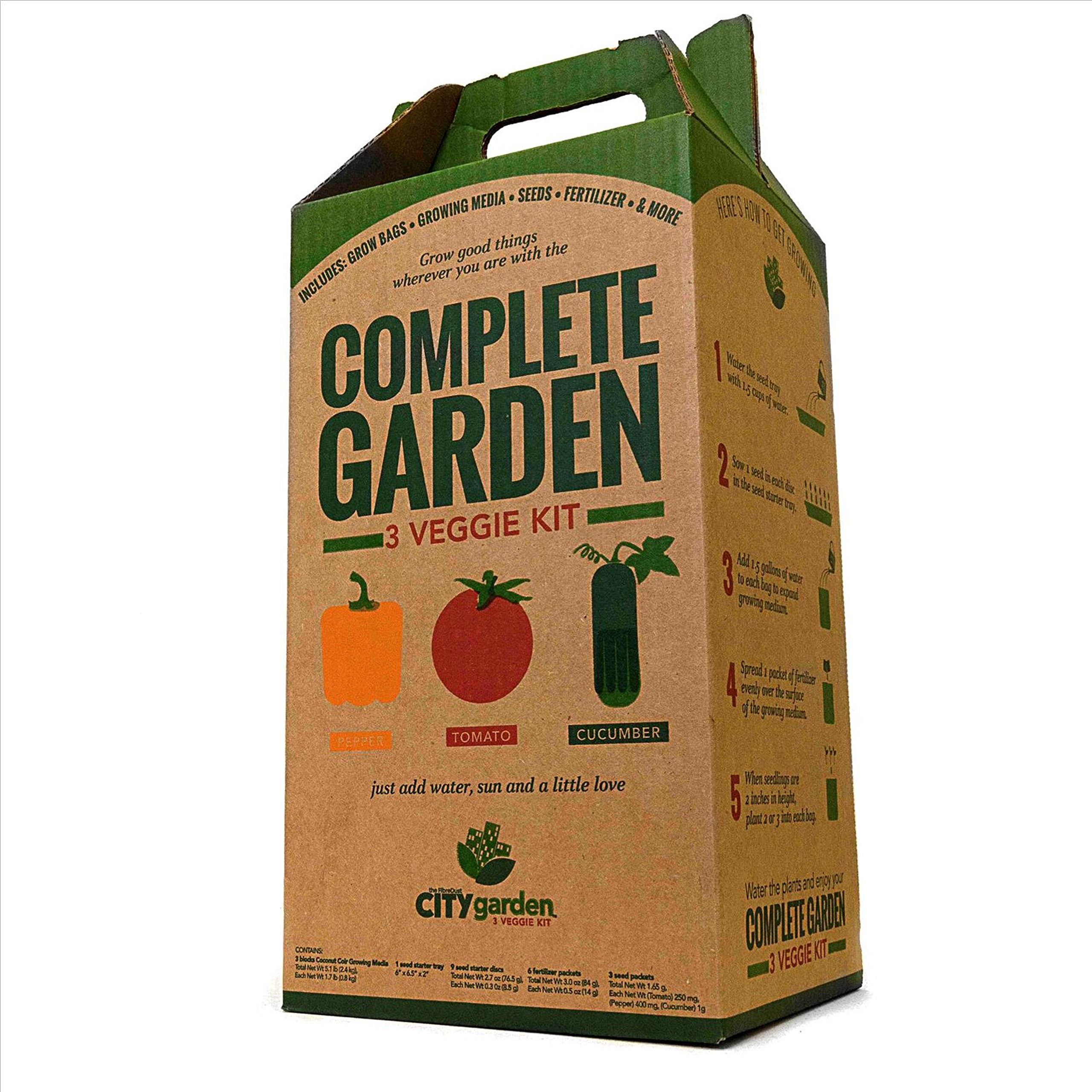 City Garden Complete Garden Kit - Everything You Need to Grow Tomatoes, Peppers, Cucumbers At Home by FibreDust City Garden