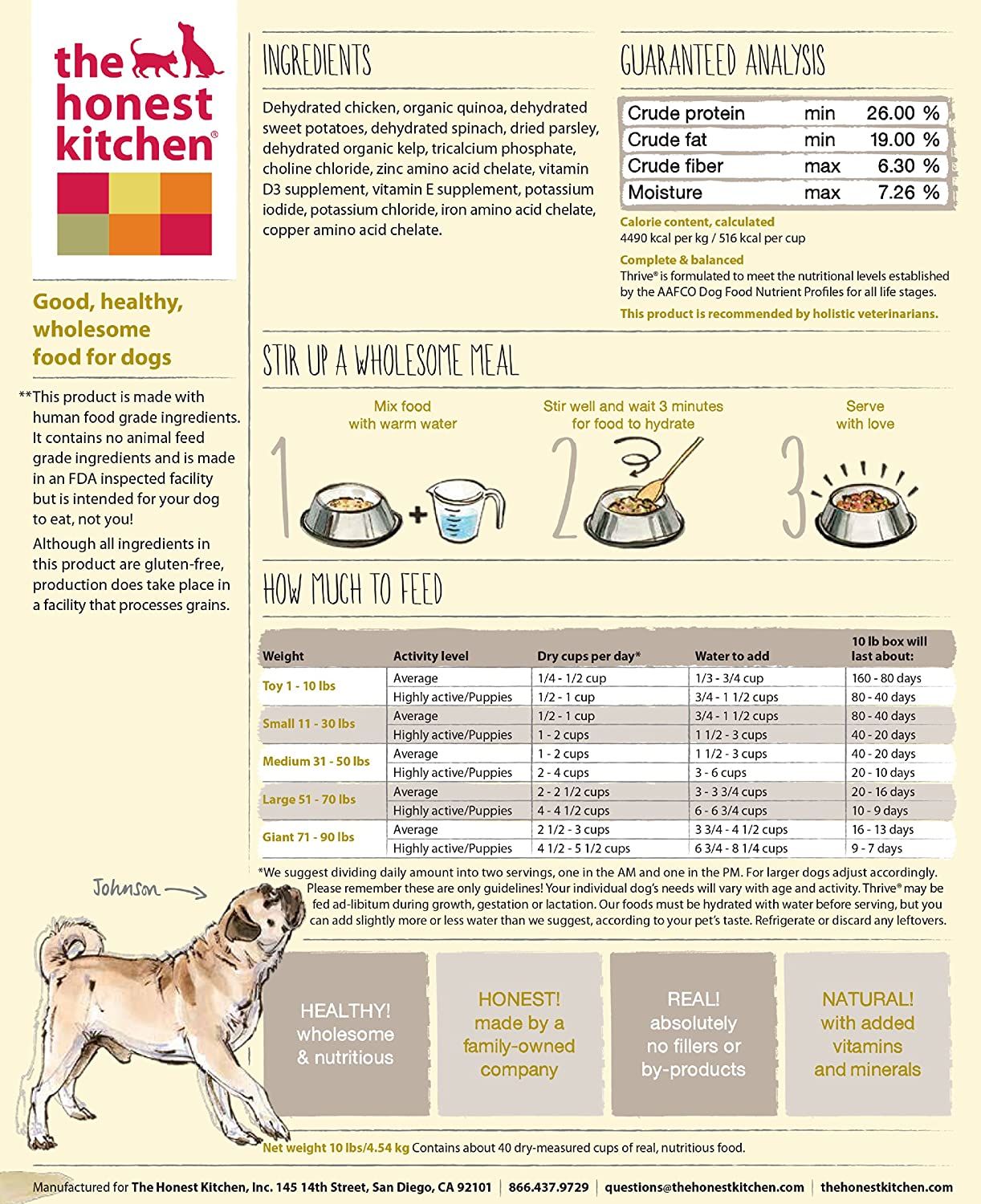 The Honest Kitchen Thrive Organic Whole Grain Dog Food - Natural ...