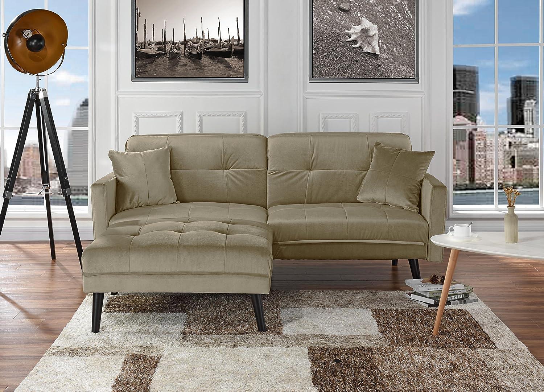 Mid-Century Modern Brush Microfiber Futon Sofa Bed, Living Room Sleeper  Couch (Beige)
