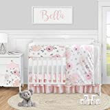 Sweet Jojo Designs Pink and Grey Watercolor Floral Baby Girl Nursery Crib Bedding Set - 5 Pieces - Blush Gray and White Shabb